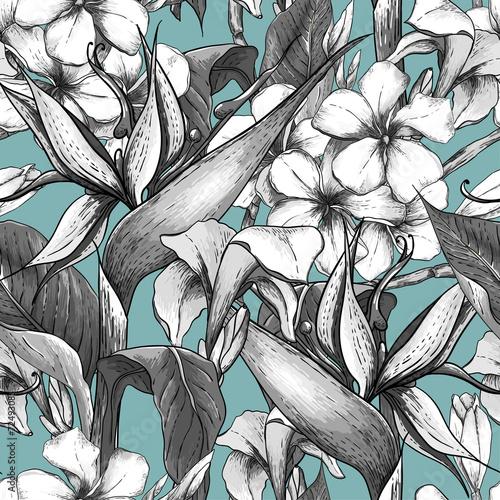 monochromatyczny-bezszwowy-wzor-z-egzotycznymi-kwiatami