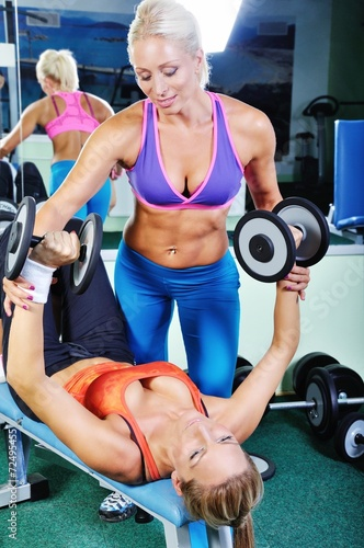 Beautiful women exercising with personal fitness trainer - 72495455