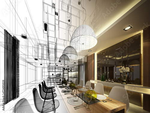 Photo  abstract sketch design of interior dining