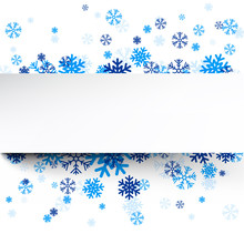 Paper Card Over Blue Snowflakes.