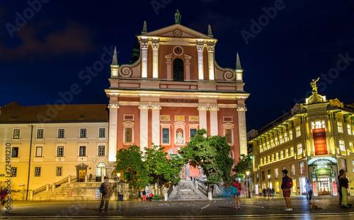 Deurstickers Amsterdam Franciscan Church of the Annunciation in Ljubljana, Slovenia