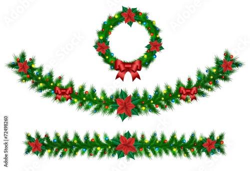 Fotografia  Christmas vector garland from needles, lights, ribbons