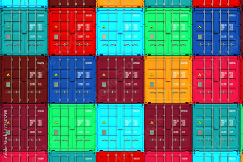 Canvas Print Lots of Colorful Cargo Containers.
