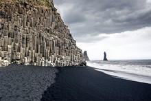 The Black Sand Beach Of Reynisfjara In Iceland