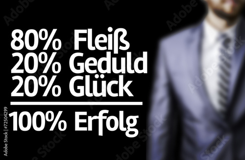 80% Assiduity 20% Patience 20% Luck = 100% Success (In German) Canvas Print
