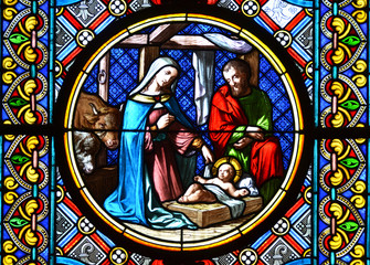 Panel Szklany Do kościoła Nativity Scene. Stained glass window