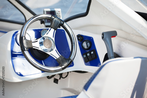 motorboat steering wheel Fototapeta