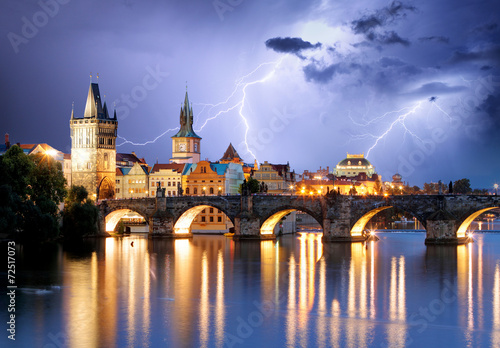 Poster Prague Prague bridge at storm