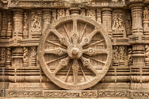 Vászonkép A chariot wheel at the sun temple at Konark.