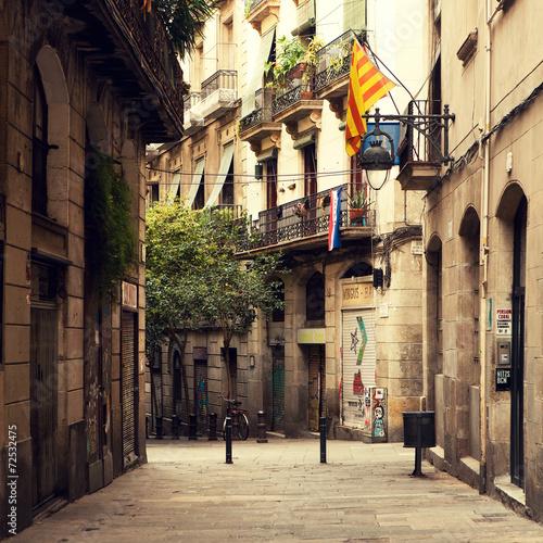 Staande foto Barcelona Street in gothic quarter in Barcelona.