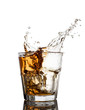 Isolated shots of whiskey with splash on white