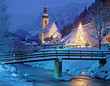 canvas print picture - weihnachtliche Kapelle von Ramsau bei Berchtesgaden