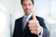 canvas print picture - Businessman giving thumbs up