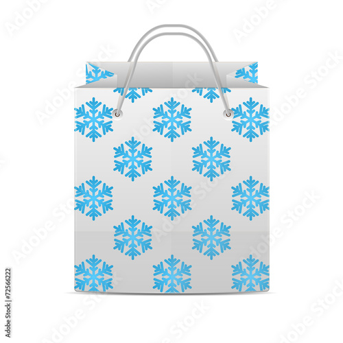 Fotografie, Obraz  Shopping bag with a pattern of snowflakes isolated on a white ba