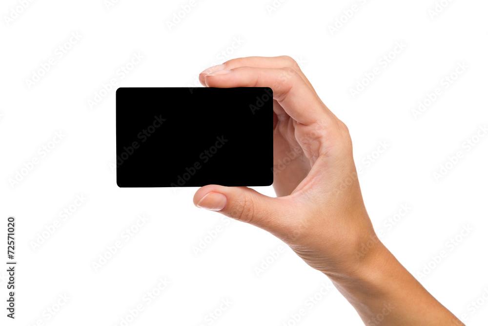 Fototapeta Black card in woman's hand