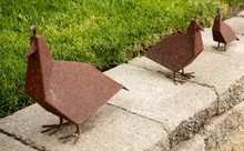 A Trio Of Rusted Metal Birds