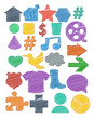 Tag icon colored pen shading effect set