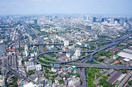 Bangkok Cityscape Expressway and Highway top view. Aerial view