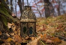 Vintage Lantern In Warm Light In The Forest