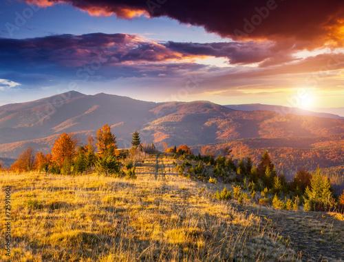 Foto op Plexiglas Crimson colored autumn mountains