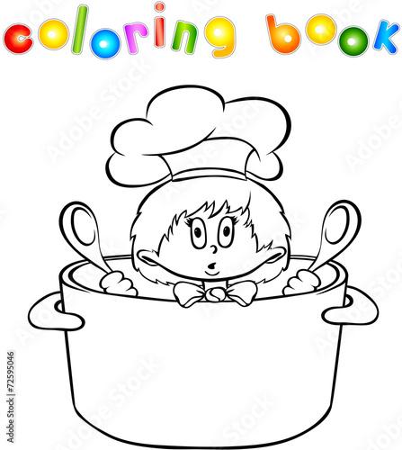 Funny surprised kitchen boy coloring book – kaufen Sie diese ...