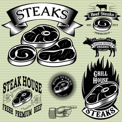 Panel Szklany Do steakhouse set template for grilling, barbecue, steak house, menu