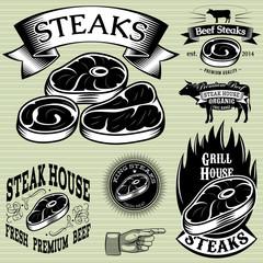 Fototapeta Do steakhouse set template for grilling, barbecue, steak house, menu