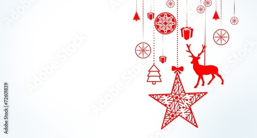Fotografie, Tablou  Hanging christmas decorations with copy space