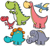 Fototapeta Dino - Vector illustration of Dinosaurs cartoon characters