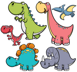 Vector illustration of Dinosaurs cartoon characters