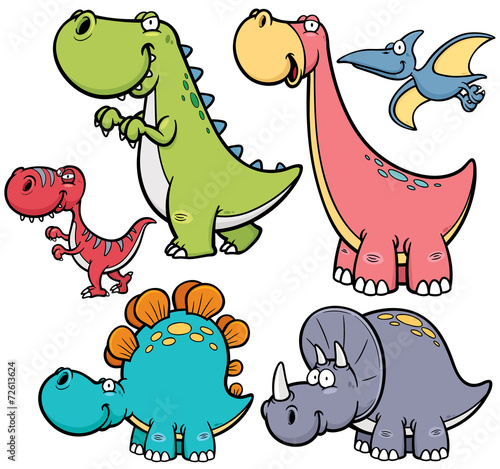 Vector illustration of Dinosaurs cartoon characters Poster