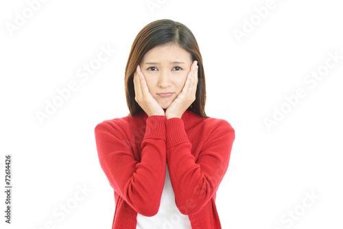 Fotografie, Obraz  憂鬱な表情の女性