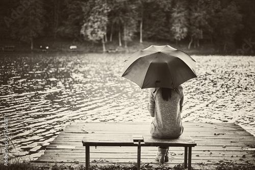 Obraz w ramie Girl umbrella