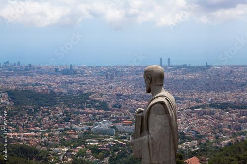Photo Panorama view of Barcelona from Mount Tibidabo