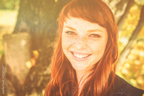 Fototapety, obrazy: beautiful woman with red hair in fall park