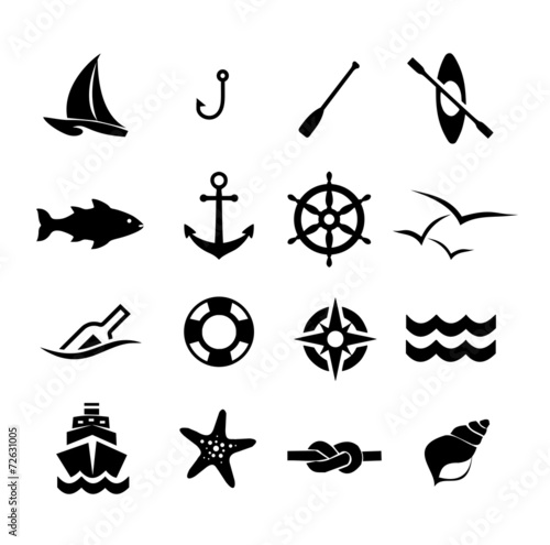 Fototapeta Marine icon set vector obraz