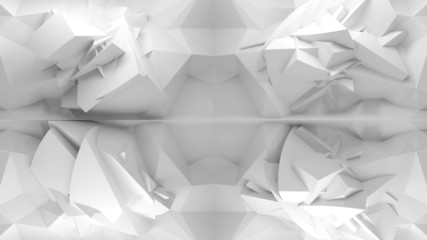 Abstract 3d white background, chaotic polygonal structure