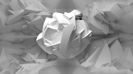 Abstract white 3d object, inside of polygonal interior