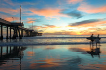 Spectacular Sunset With Surfers At Venice Beach California