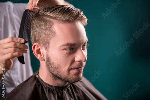 professional  hairdressing salon Canvas Print