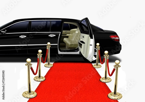 Black Limo on Red Carpet Arrival Poster