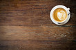 canvas print picture - latte coffee on wood with space.