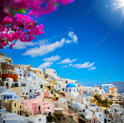 Fototapeta art view of Fira town - Santorini obraz