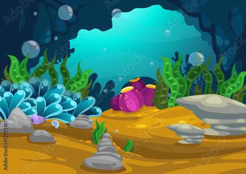 Poster Turquoise under the sea background vector