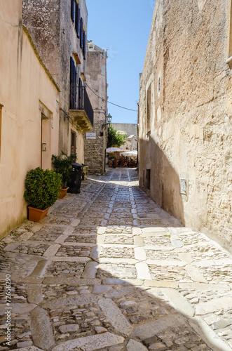 Fotografie, Obraz  Stone Paved Old Street in Erice, Sicily