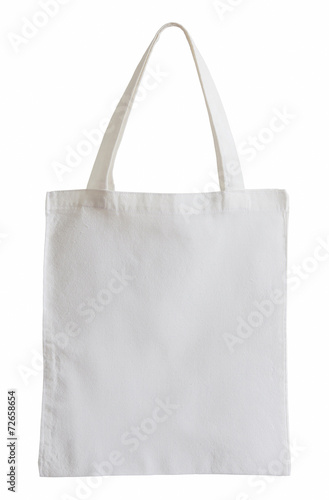 Fototapeta white fabric bag isolated on white with clipping path obraz