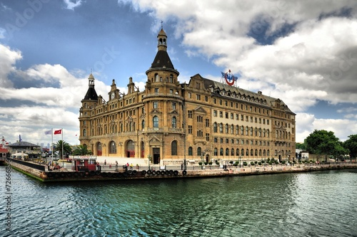 Haydarpasha station building in cloudy day Poster