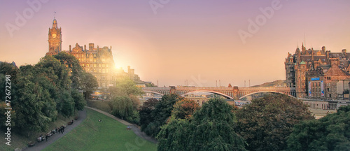Panoramic view of Edinburgh, Scotland, UK with the setting sun Canvas Print