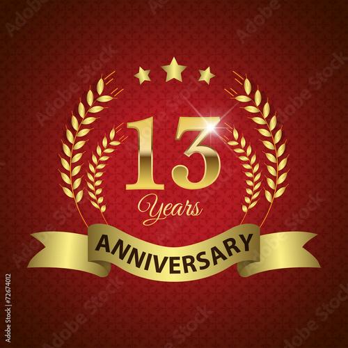 Платно  Celebrating 13 Years Anniversary, Golden Laurel Wreath & Ribbon