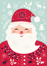 Christmas Vector Illustration With Funny Santa Claus. Postcard